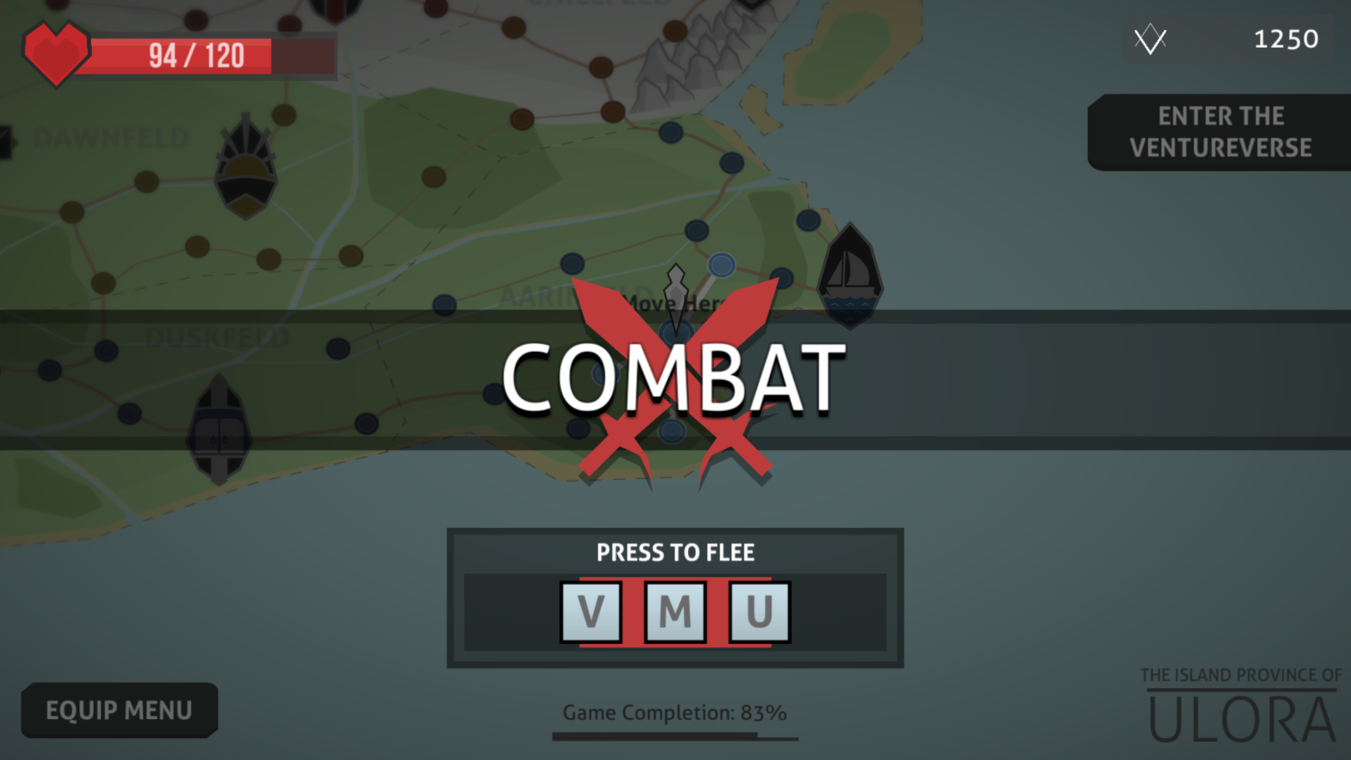 The most common type of map screen event is combat. You are taken to a small map with a few enemies and you win the event when you kill them all. When the event pops up, you have a small window in which you can flee by pressing 3 random buttons in order.